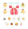 asthma triggers vector image