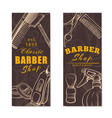 barber shop vertical banner set in brown vector image vector image