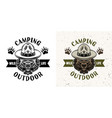 camping emblem with scout bear two styles vector image vector image