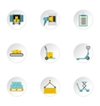 Cargo packing icons set flat style vector image vector image