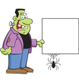 Cartoon Frankenstein Holding a Sign vector image