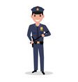 cartoon policeman in uniform police baton vector image