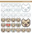 Cat pixel emoticons vector image