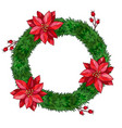 christmas fir wreath with poinsettia and berry vector image vector image