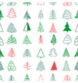 christmas seamless pattern with simple trees vector image