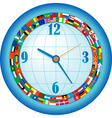 clock with flags vector image vector image