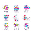 collection of colorful kids logo templates set vector image