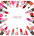 colorful lipsticks border vector image vector image