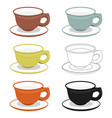 cups and saucers of different cly types vector image vector image