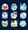 dairy food icons milk cream cheese and butter vector image