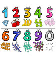 educational cartoon numbers set with objects vector image vector image