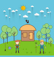 farmer man and woman farming and landscape vector image vector image