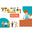 flat construction industry composition vector image vector image