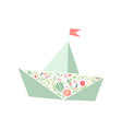 folded paper boat decorated with floral seamless vector image vector image