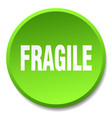 fragile green round flat isolated push button vector image vector image