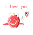 greeting card with cheerful in love monsters vector image vector image