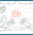 happy new 2019 greeting card template with vector image