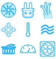 heating and cooling line icons isolated vector image