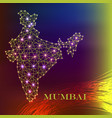india map of polygonal mosaic lines rays and vector image vector image