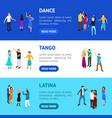 isometric dancing people banner horizontal set vector image vector image