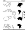 match animals and continents game coloring book vector image vector image