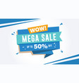 mega sale discount banner template 50 percent off vector image vector image