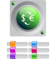 Money exchange color round button vector image vector image