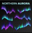 northern aurora set polar sky night shiny vector image vector image