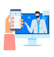online consultation with doctor hand with phone vector image vector image