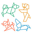 origami dogs icon set abstract low poly pet dog vector image vector image