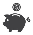 piggy bank glyph icon business and finance vector image vector image