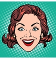 Retro Emoji smile joy woman face vector image vector image