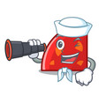 Sailor with binocular quadrant mascot cartoon