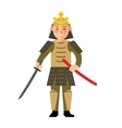 Samurai japan Flat style colorful Cartoon vector image vector image