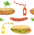 seamless background hot dog vector image vector image