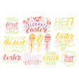 set 9 hand lettering quotes about easter vector image