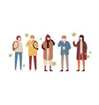 set men women and teens in protective face vector image vector image