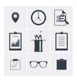 Set of flat icons clock magic glasses vector image