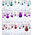 shiny banners with colorful christmas balls vector image vector image