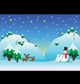 Snowman with snow theme background vector image vector image