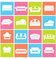 Sofa Icons vector image vector image