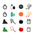 sport equipment food icons set vector image