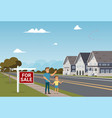 the concept of for sale country townhouse vector image vector image