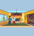 two man agent and new owner in modern living room vector image