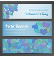 Valentines Day horizontal banners on pink vector image