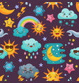 various funny weather icons set cartoon seamless vector image