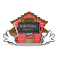 virtual reality spring day with a red barn cartoon vector image vector image