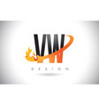 vw v w letter logo with fire flames design and vector image vector image