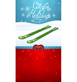 winter holidays green skiing and red ski goggles vector image vector image
