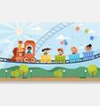 young children enjoying a fairground ride vector image vector image